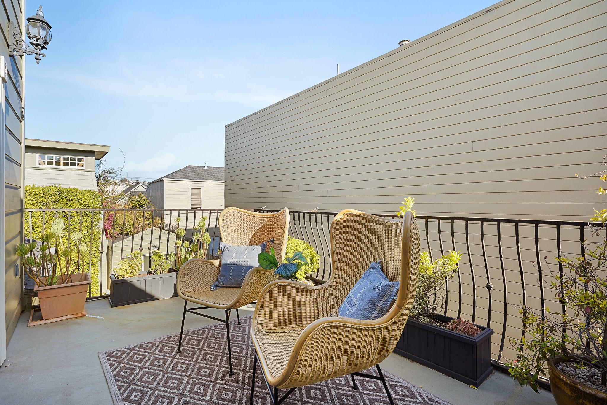 A private deck off the primary suite lets you soak in the Mission sunshine.