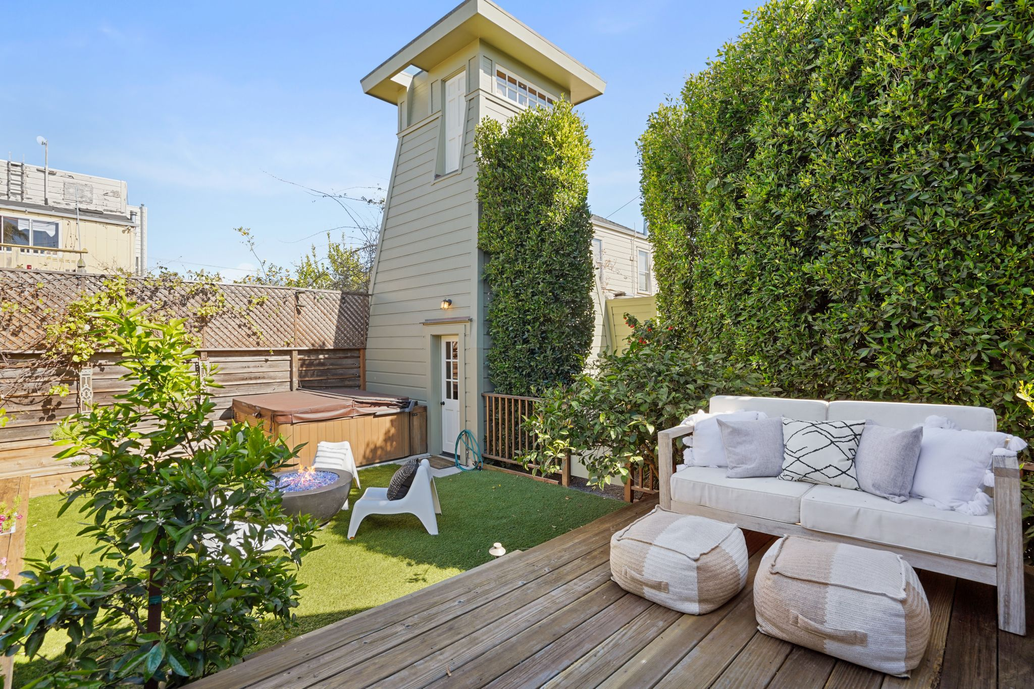 Outside you'll find a deck, lawn, and that water tower, all waiting to be explored.