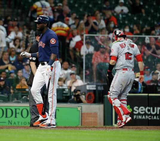 Houston Astros designated hitter Yordan Alvarez (44) reacts after striking out against Los Angeles Angels starting pitcher Dylan Bundy during the fourth inning of an MLB baseball game at Minute Maid Park, Sunday, April 25, 2021, in Houston. Photo: Karen Warren, Staff Photographer / @2021 Houston Chronicle