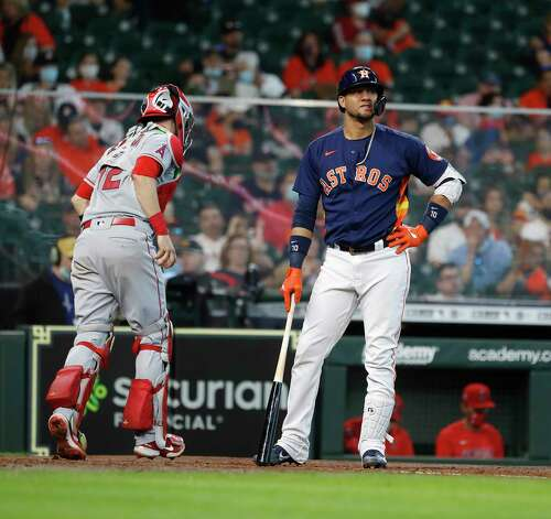 Houston Astros Yuli Gurriel (10) reacts after striking out against Los Angeles Angels starting pitcher Dylan Bundy during the fourth inning of an MLB baseball game at Minute Maid Park, Sunday, April 25, 2021, in Houston. Photo: Karen Warren, Staff Photographer / @2021 Houston Chronicle