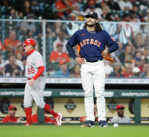 Houston Astros starting pitcher Lance McCullers Jr. (43) reacts after he failed to field a single by Los Angeles Angels Jose Iglesias during the fifth inning of an MLB baseball game at Minute Maid Park, Sunday, April 25, 2021, in Houston. Photo: Karen Warren, Staff Photographer / @2021 Houston Chronicle