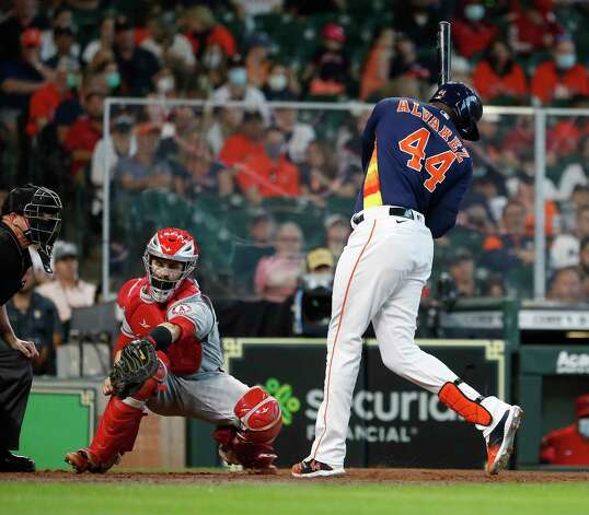 Houston Astros designated hitter Yordan Alvarez (44) is hit by a pitch from Los Angeles Angels starting pitcher Dylan Bundy during the seventh inning of an MLB baseball game at Minute Maid Park, Sunday, April 25, 2021, in Houston. Photo: Karen Warren, Staff Photographer / @2021 Houston Chronicle