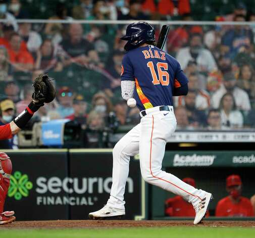 Houston Astros Aledmys Diaz (16) gets hit by a pitch from Los Angeles Angels relief pitcher Chris Rodriguez during the seventh inning of an MLB baseball game at Minute Maid Park, Sunday, April 25, 2021, in Houston. Photo: Karen Warren, Staff Photographer / @2021 Houston Chronicle