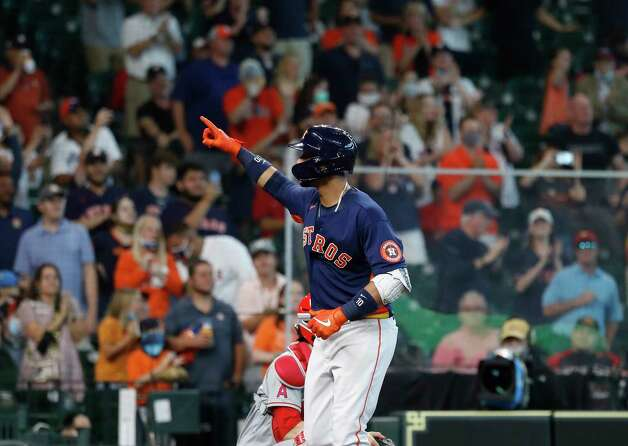 Houston Astros Yuli Gurriel (10) reacts after his two-run home run tied the game with the Los Angeles Angels during the seventh inning of an MLB baseball game at Minute Maid Park, Sunday, April 25, 2021, in Houston. Photo: Karen Warren, Staff Photographer / @2021 Houston Chronicle