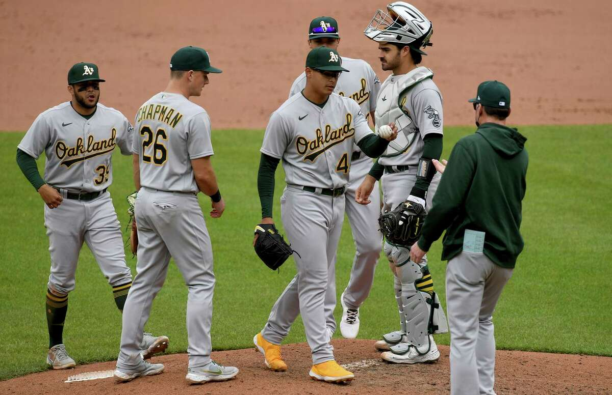 Manager Bob Melvin pulls starting pitcher Jesus Luzardo in the seventh inning of Sunday's game. Luzardo took the loss as Oakland had its 13-game winning streak snapped.
