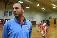 Lumberton's head coach Josh Mitchell talks as his team practices in their gym on Thursday. Photo taken on Thursday, 01/31/19. Ryan Welch/The Enterprise