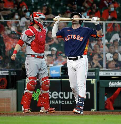 Houston Astros Alex Bregman (2) reacts after striking out during the eighth inning of an MLB baseball game at Minute Maid Park, Sunday, April 25, 2021, in Houston. Photo: Karen Warren, Staff Photographer / @2021 Houston Chronicle