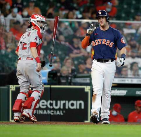 Houston Astros Myles Straw (3) reacts after striking out against Los Angeles Angels starting pitcher Chris Rodriguez (73) during the seventh inning of an MLB baseball game at Minute Maid Park, Sunday, April 25, 2021, in Houston. Photo: Karen Warren, Staff Photographer / @2021 Houston Chronicle