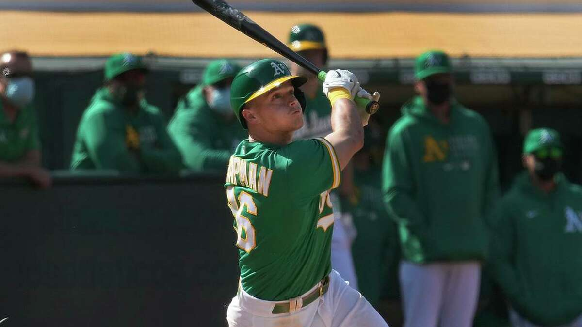 Oakland Athletics' Matt Chapman (26) in action against the Minnesota Twins during a baseball game on Wednesday, April 21, 2021, in Oakland, Calif. (AP Photo/Tony Avelar)