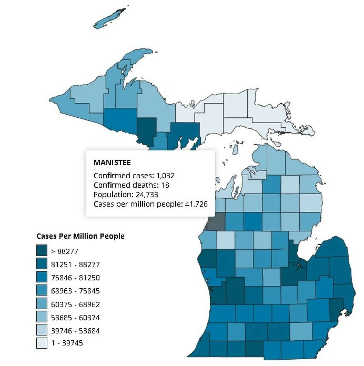 Manistee County has seen 12 new cases of the coronavirus since Friday, according to data provided by the state.