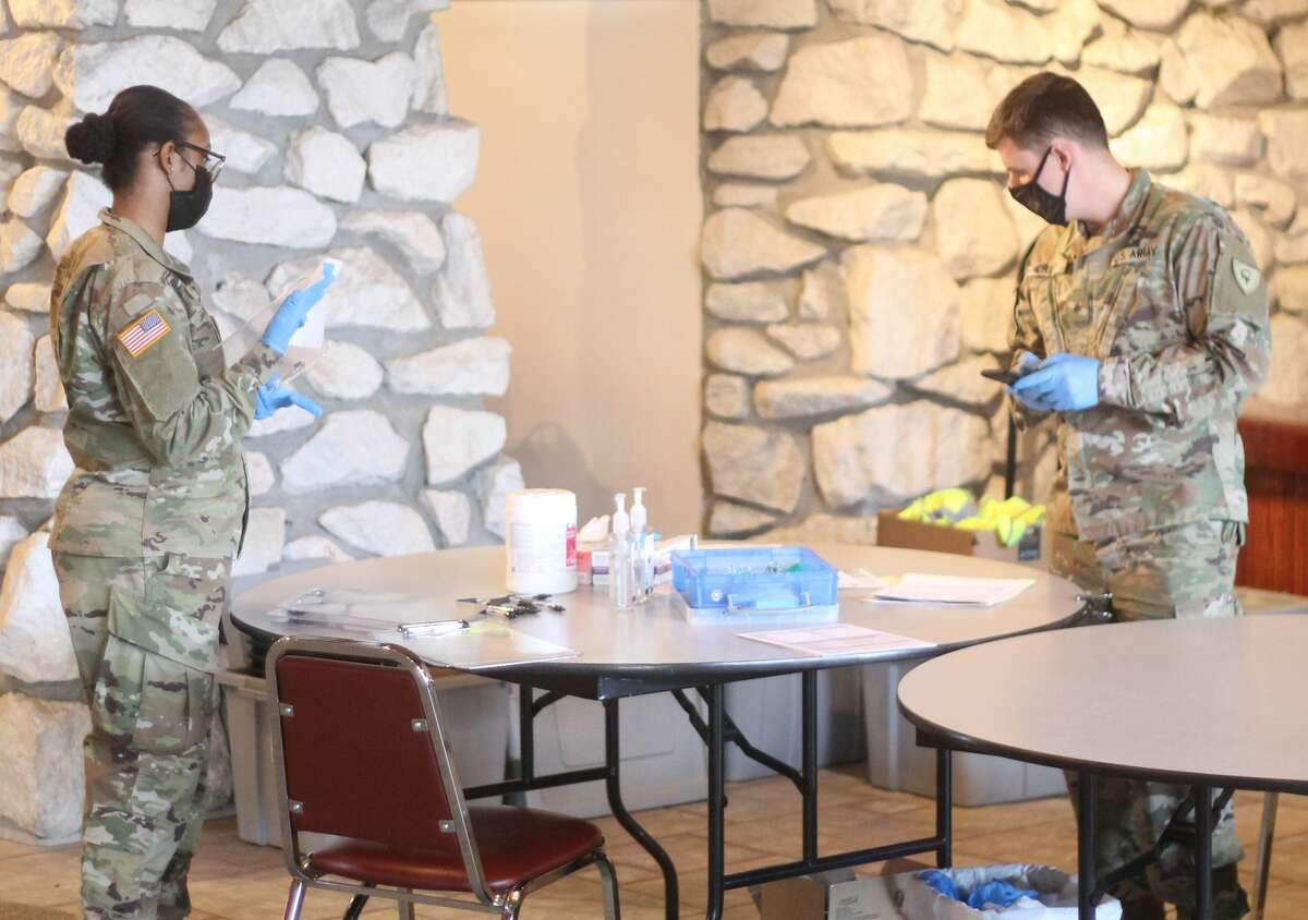 Members of the National Guard were on hand at the Wagoner Community Center Friday to assist during a COVID-19 vaccination clinic hosted by District Health Department #10.