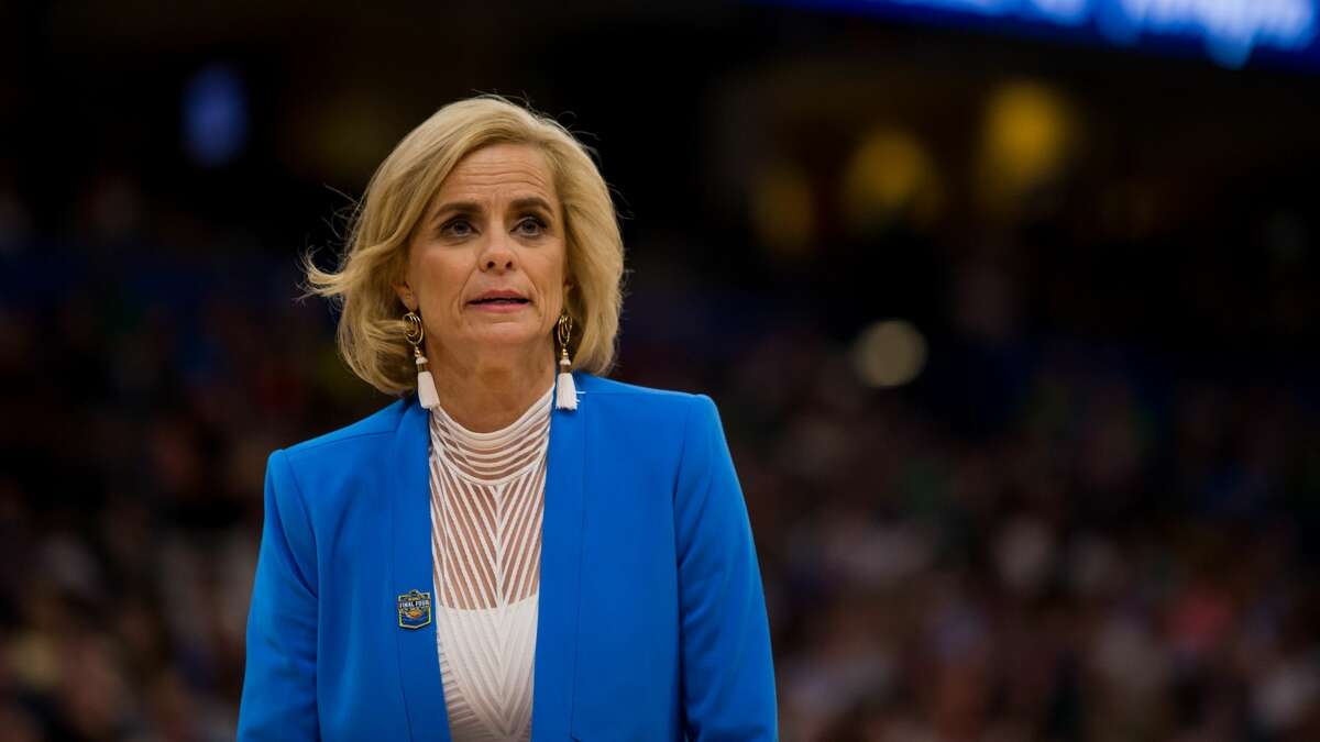 Baylor head coach Kim Mulkey looks on in the NCAA Division I Women's National Championship Game between the Baylor Bears and the Notre Dame Fighting Irish on April 07, 2019, at Amalie Arena in Tampa, Florida. (Photo by Mary Holt/Icon Sportswire via Getty Images)