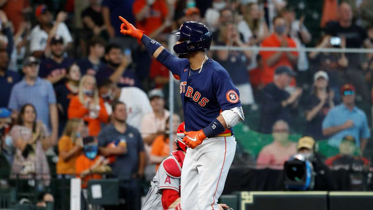 Houston Astros Yuli Gurriel (10) reacts after his two-run home run tied the game with the Los Angeles Angels during the seventh inning of an MLB baseball game at Minute Maid Park, Sunday, April 25, 2021, in Houston.