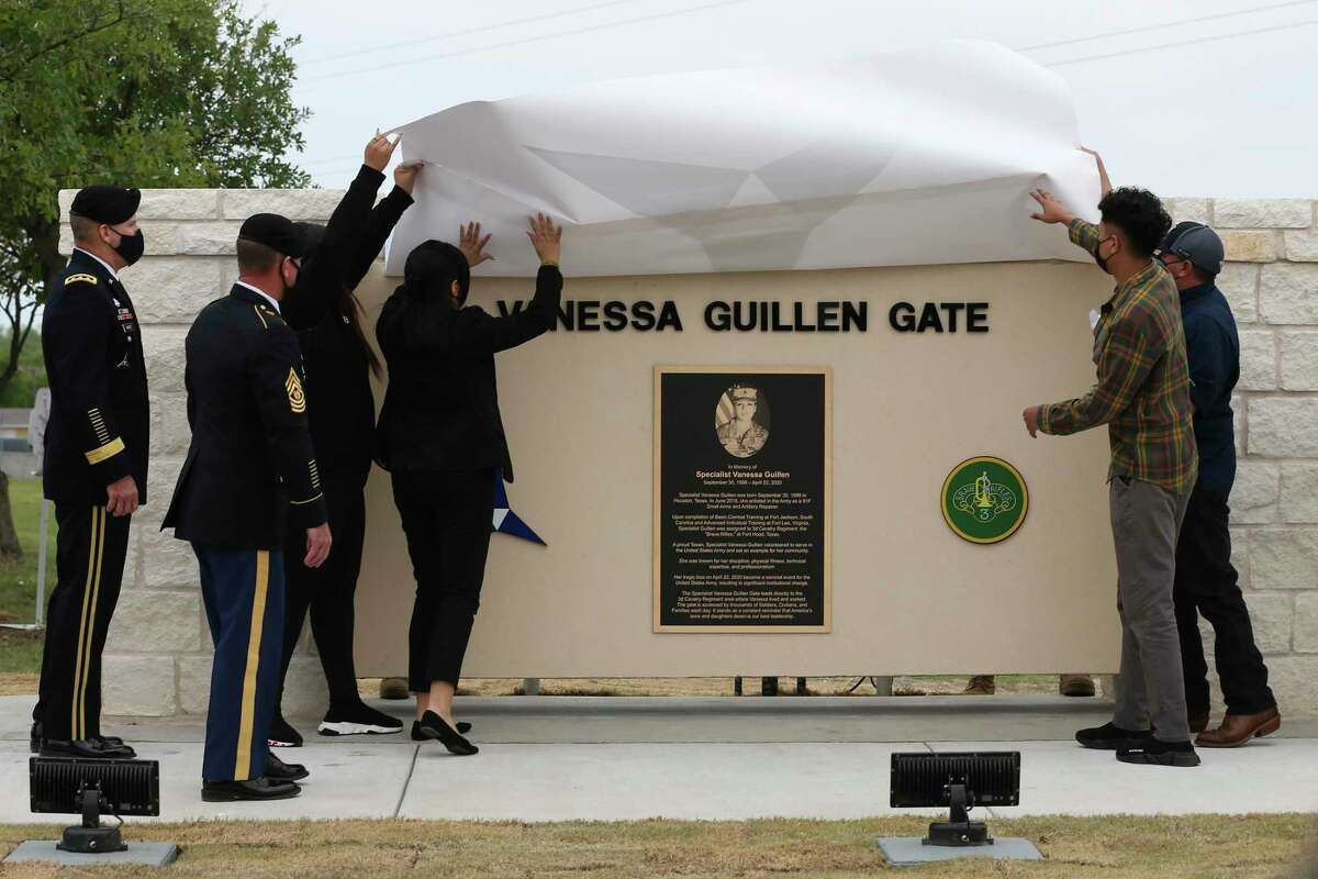 Pfc. Vanessa Guillén family unveils a sign last week at a Fort Hood gate dedicated to her. The case surrounding her death is a reason military justice reform bills are more likely to pass this year.