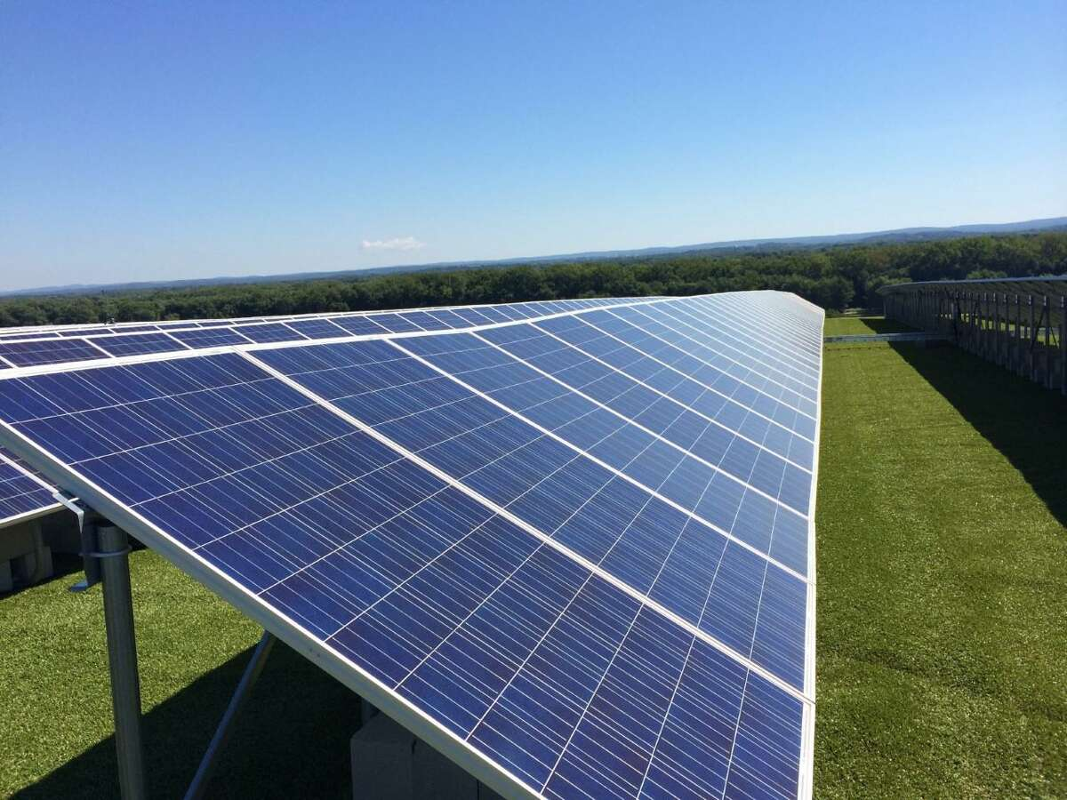 A 2014 photo of solar panels located on top of Hartford's North Meadows landfill. The Hartford landfill projects has nearly 4,000 photovoltaic panels that trun sunlight into electricity.