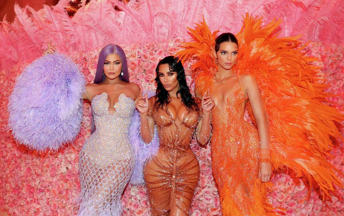 Kylie Jenner, from left, Kim Kardashian West, and Kendall Jenner attend The 2019 Met Gala Celebrating Camp: Notes on Fashion at Metropolitan Museum of Art in New York City.