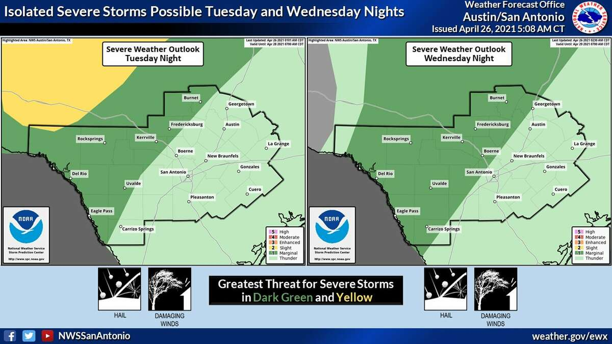 Rain chances will increase for the San Antonio area starting on Tuesday, the NWS says.