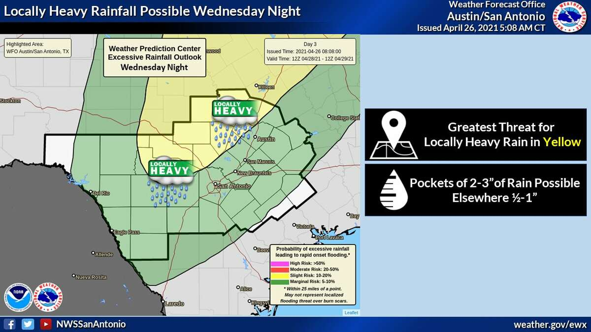 Some spots could see locally heavy rain, especially in the Hill Country, the NWS says.
