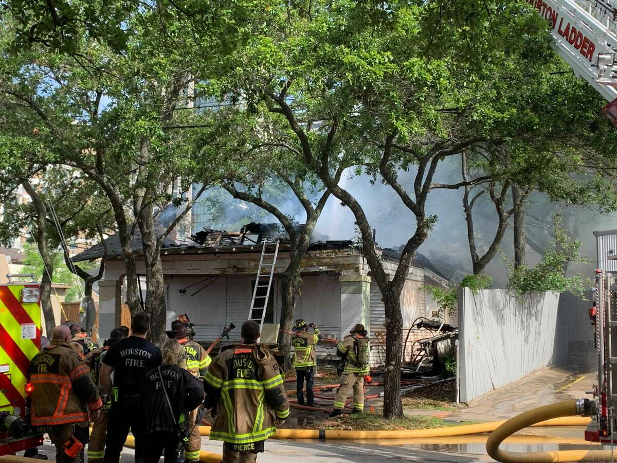 The Houston Fire Department is working to extinguish a house fire near Montrose.
