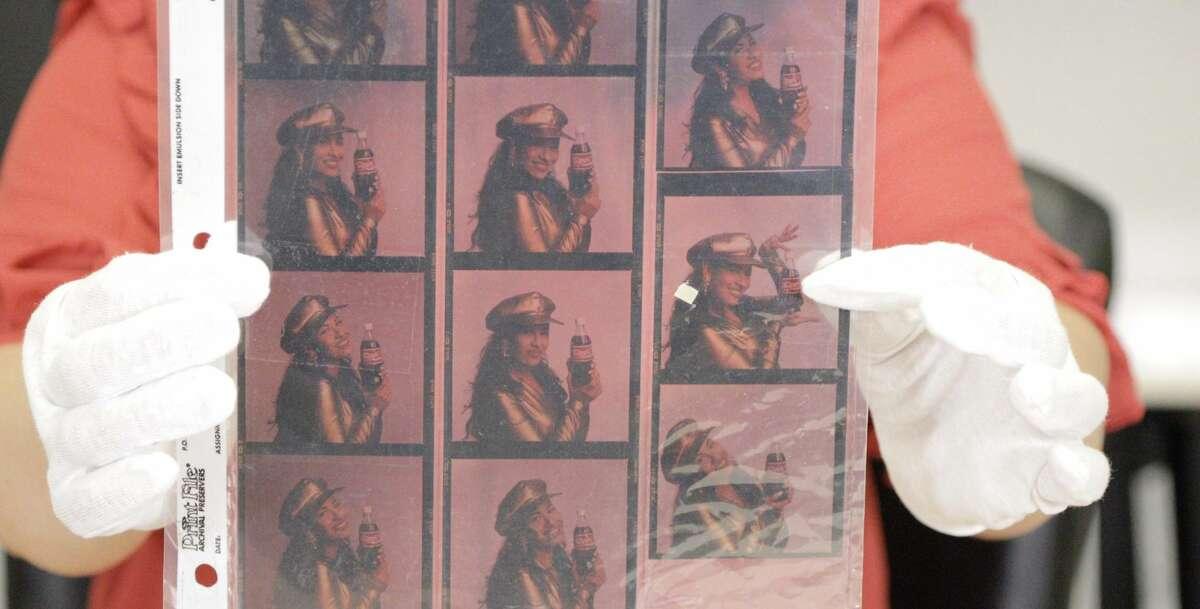 Photo transparencies of Selena by Rendon for Coca-Cola advertisements.