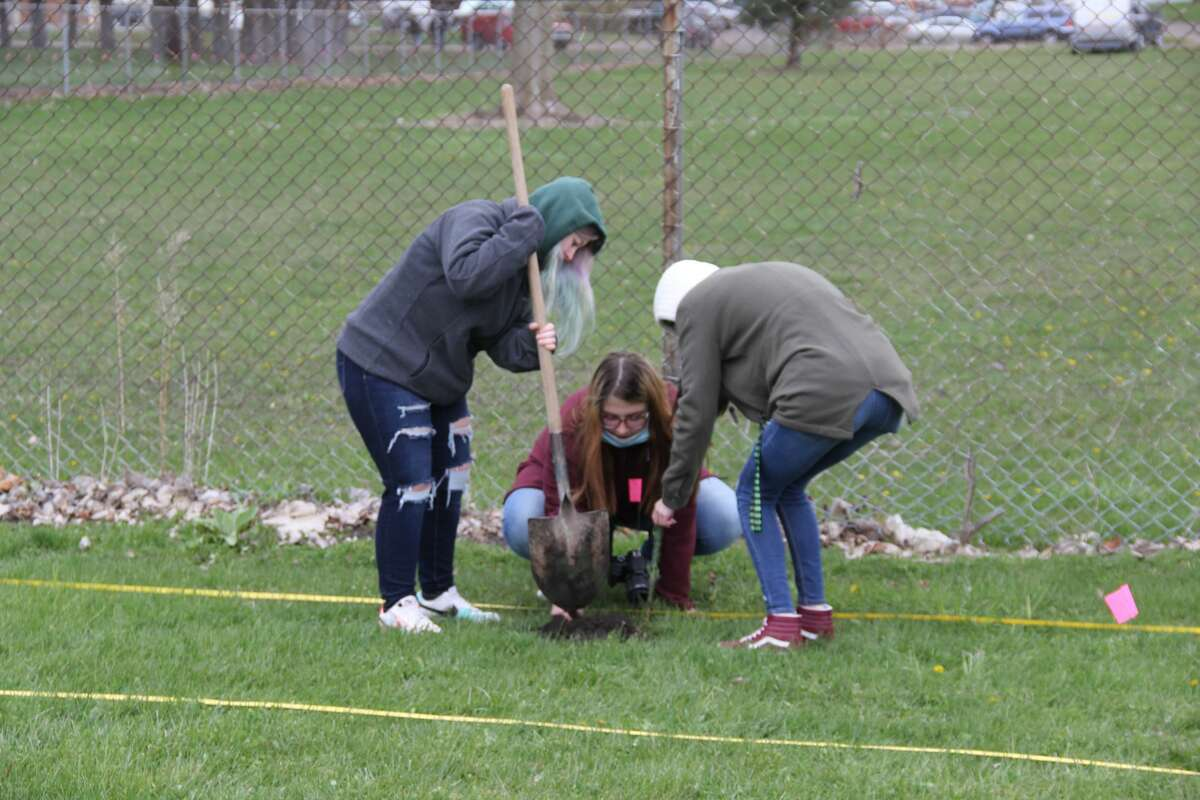 Students from Ascent High School in Bad Axe helped plant trees along the Bad Axe walking path on Monday morning. This is one of the service projects the students try to do every year.
