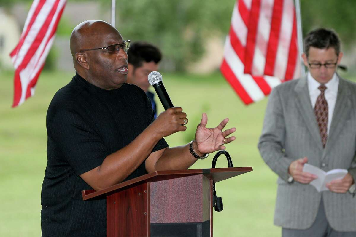 Maranatha Bible Church pastor Rander Draper leads the gathering in a prayer during the National Day of Prayer observance at Converse City Park in 2019. This year's prayer gathering is set for May 6 at 9 a.m. at Converse North Park, 8200 Spring Town St. in Converse.