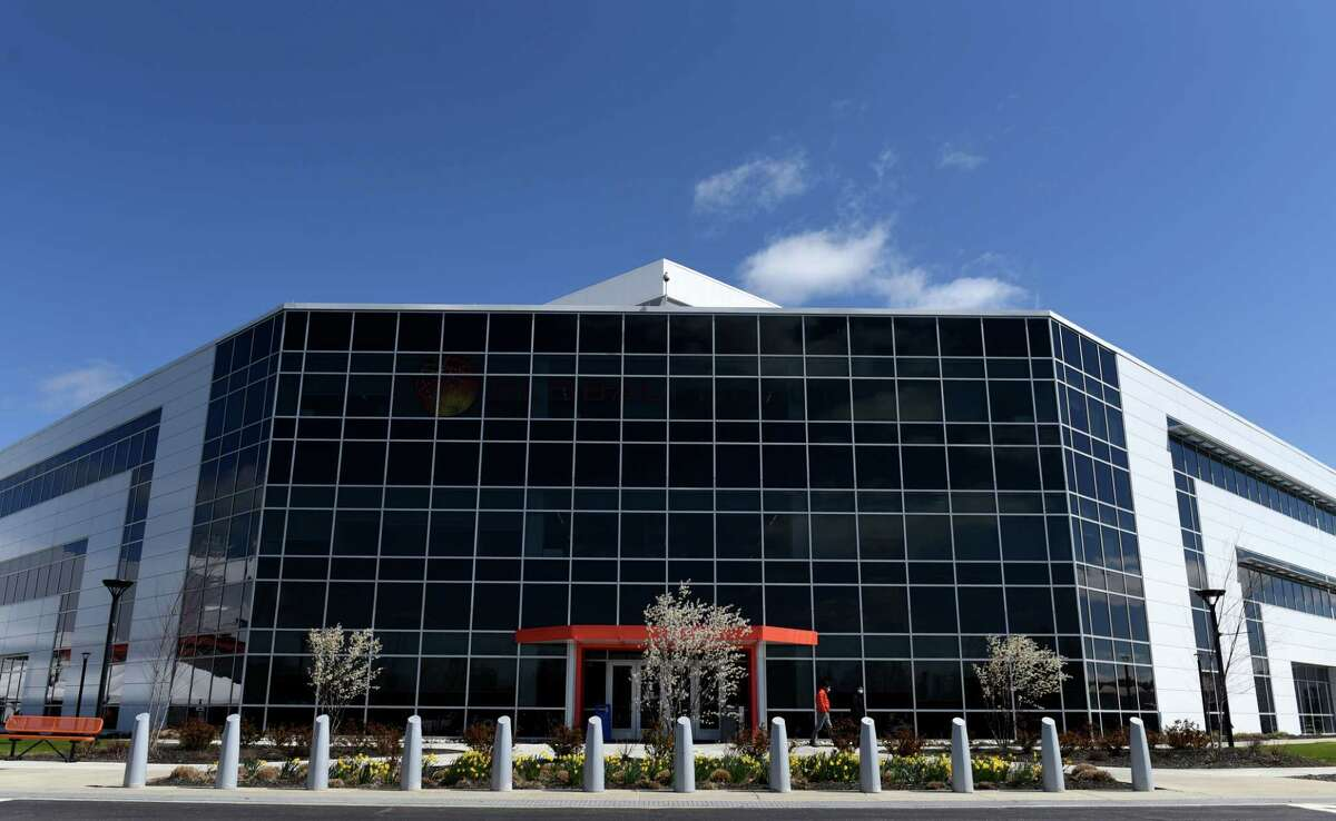 Exterior of Globalfoundries' Fab 8 campus in Malta on Monday, April 26, 2021. (Will Waldron/Times Union)