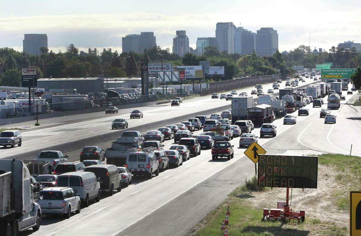 Traffic stacks up outside Sacramento on Highway 50. Califorina should once again have the autority to set its own vehicle emissions standards.