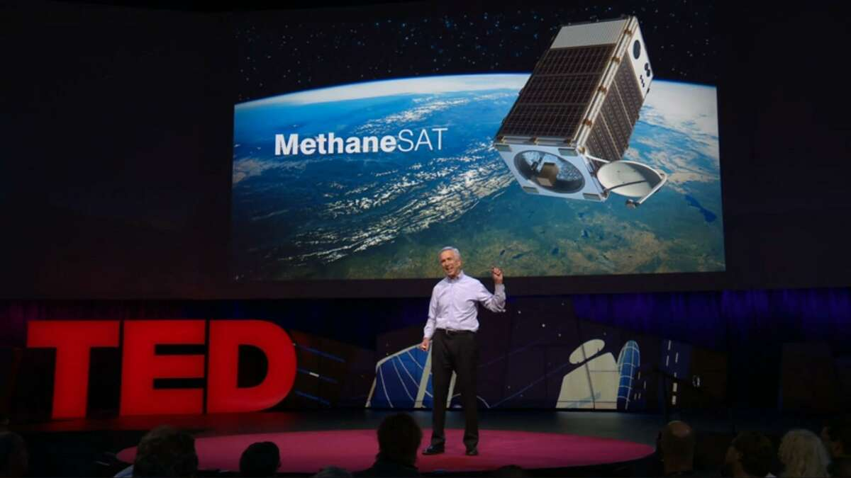 Environmental Defense Fund President Fred Kupp speaing at an April 2018 TED Talk where he announced the group's plans to launch a satellite into outer space in 2021.Dubbed MethaneSAT, the environmental group plans to use the satellite to monitor methane emissions around the world and make the data 100 percent public.