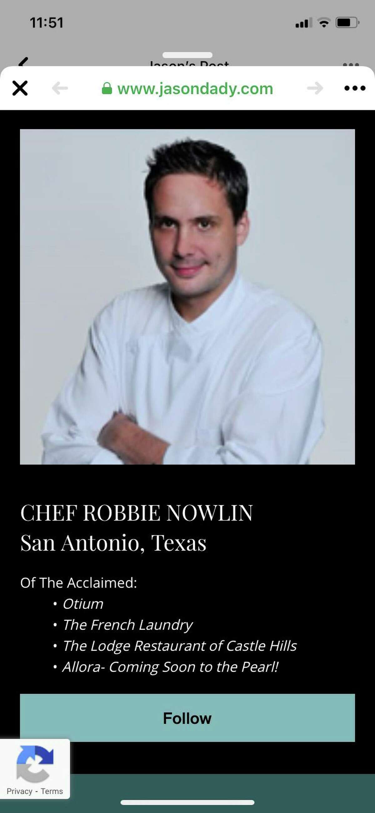 San Antonio chef Robbie Nowlin was identified as the chef at the forthcoming Allora in an advertisement briefly posted online.