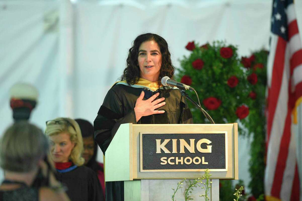 Head of School Karen Eshoo speaks at the King School commencement exercises on May 31, 2019 in Stamford. Eshoo, King's administration and the board of trustees released a letter this month apologizes after allegations of racism against Black students at the school.