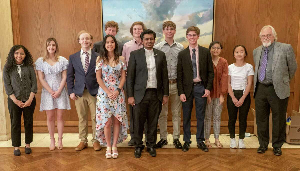 Area students honored by the Midland Exchange Club, from left, Rahaf Aljerwi, outstanding MHS English student, Olivia Haskell, outstanding MHS Foreign Language student, Leighton Petty, outstanding MHS Science student, back row, Connor Carriger, outstanding MHS Math student, Caden Pyles, outstanding MHS Social Studies student, John Langs, outstanding LHS Math student, front middle, Anna Duyen Ngo, outstanding Early College High School student, Pranav Ganta, outstanding LHS English student, Carson Page, outstanding LHS Science student, Fatima Enriquez, outstanding LHS Foreign Language student, Van Par, outstanding LHS Social Studies student and Jamey Lucas, president of Midland Exchange Club.