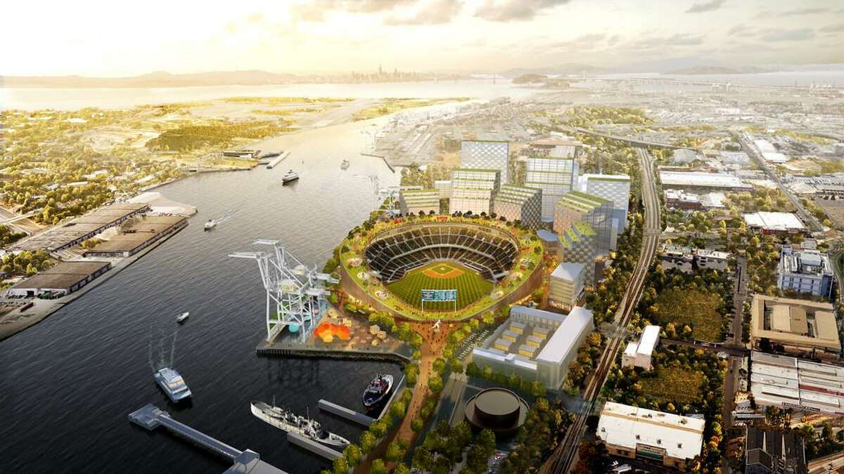 Illustration of proposed new Oakland A's ballpark at Howard Terminal featuring a rooftop park.
