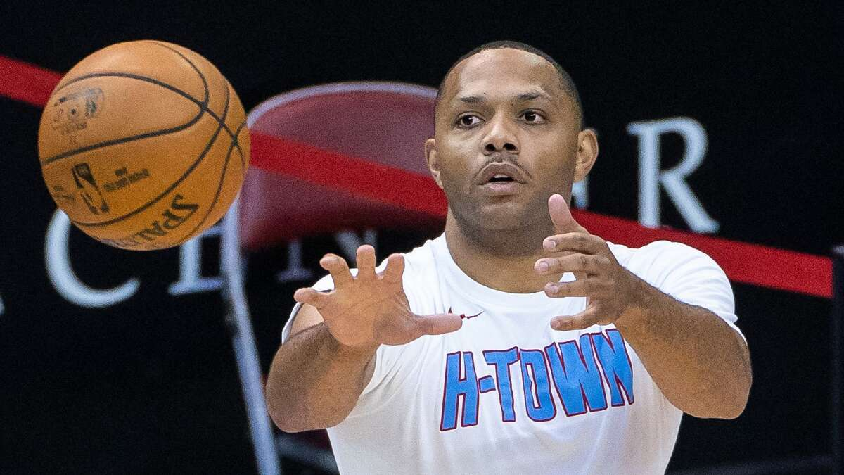 Houston Rockets guard Eric Gordon (10) works out before the first quarter of an NBA game between the Houston Rockets and Denver Nuggets on Friday, April 16, 2021, at Toyota Center in Houston.