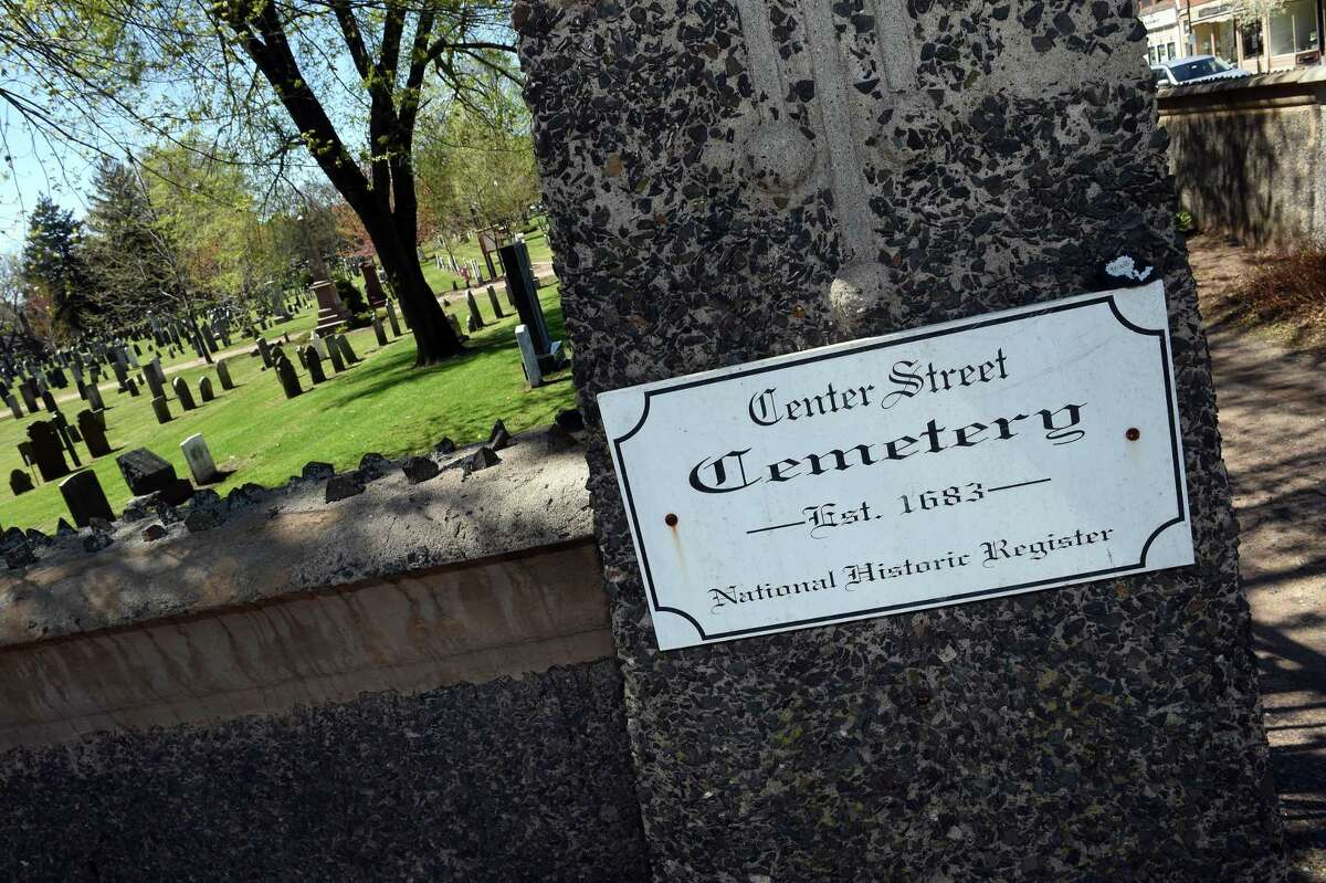 The entrance to the Center Street Cemetery in Wallingford, photographed on April 26, 2021.