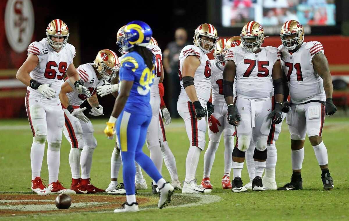 San Francisco 49ers' Mike McGlinchey, Ben Garland, Laken Tomlinson and Trent Williams ready for a play during 24-16 win over Los Angeles Rams during NFL game at Levi's Stadium in Santa Clara, Calif., on Sunday, October 18, 2020.