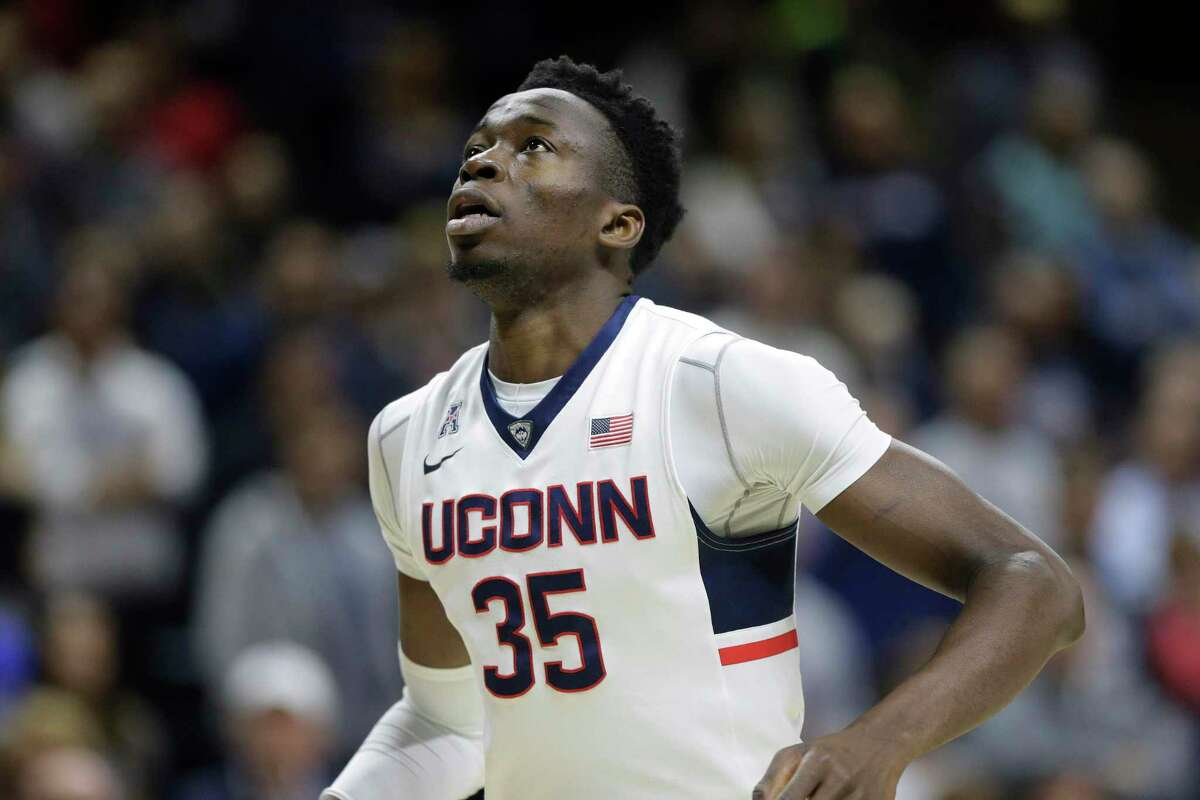 UConn's Amida Brimah runs on the court in a 2016 game against Central Florida in Storrs.