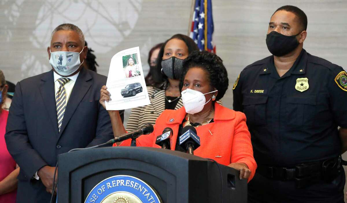 Congresswoman Sheila Jackson Lee holds up a missing poster as she, along with law enforcement officials met with the Hernandez Family about the search for Erica Hernandez, a Houston mother of three, who has been missing for a week during a press conference at the Mickey Leland Federal Building, Monday, April 26, 2021, in Houston.