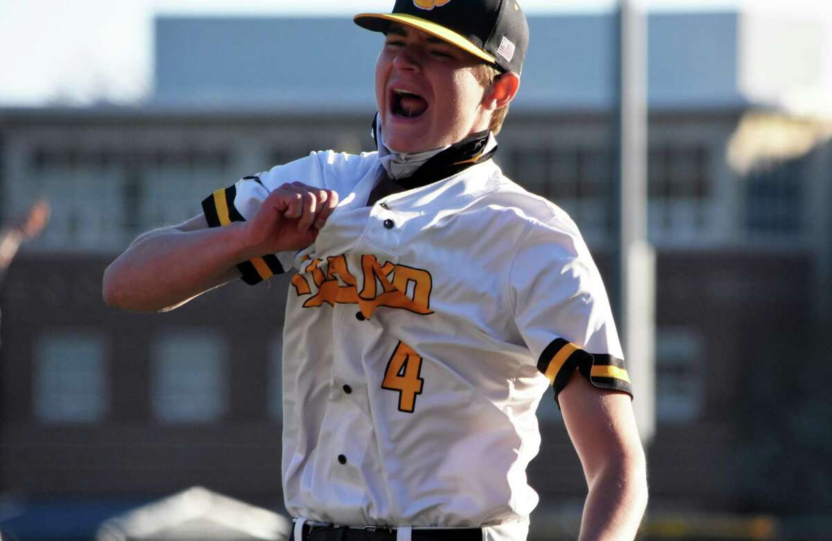 Hand's Ryan Knight celebrates after striking out the final batter in Hand's 7-4 win over Shelton in a baseball game at Hand high school on Monday, April 26, 2021.