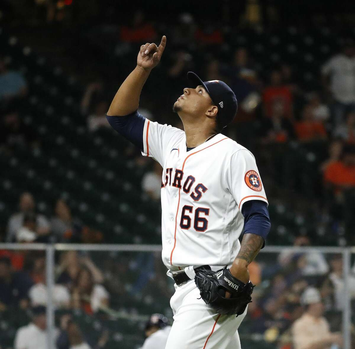 Houston Astros relief pitcher Bryan Abreu (66) reacts after striking out Seattle Mariners J.P. Crawford during the seventh inning of an MLB baseball game at Minute Maid Park, Monday, April 26, 2021, in Houston.