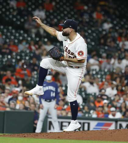Houston Astros starting pitcher Jose Urquidy (65) pitches during the sixth inning of an MLB baseball game at Minute Maid Park, Monday, April 26, 2021, in Houston. Photo: Karen Warren/Staff Photographer / @2021 Houston Chronicle
