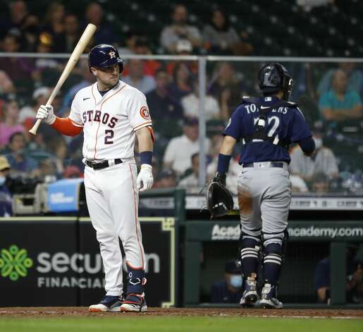 Houston Astros Alex Bregman (2) reacts after being called out on strikes during the sixth inning of an MLB baseball game at Minute Maid Park, Monday, April 26, 2021, in Houston. Photo: Karen Warren/Staff Photographer / @2021 Houston Chronicle