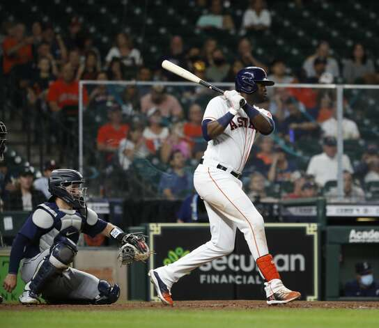 Houston Astros designated hitter Yordan Alvarez (44) singles during the seventh inning of an MLB baseball game at Minute Maid Park, Monday, April 26, 2021, in Houston. Photo: Karen Warren/Staff Photographer / @2021 Houston Chronicle