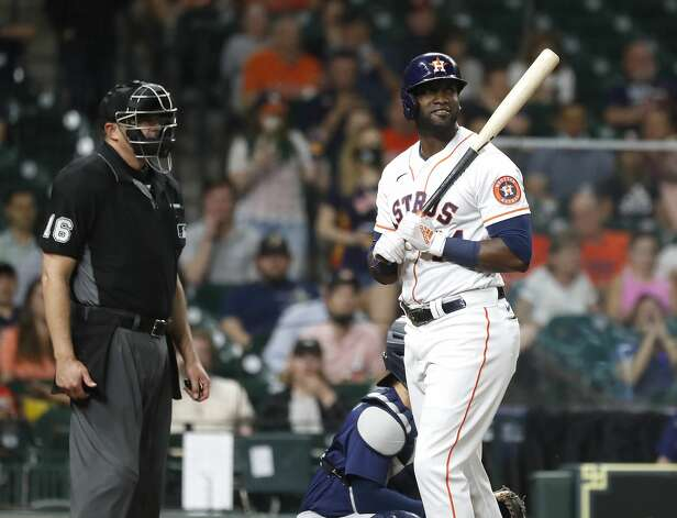 Houston Astros designated hitter Yordan Alvarez (44) reacts after being called out on strikes from Seattle Mariners starting pitcher Justus Sheffield (33) during the fifth inning of an MLB baseball game at Minute Maid Park, Monday, April 26, 2021, in Houston. Photo: Karen Warren/Staff Photographer / @2021 Houston Chronicle