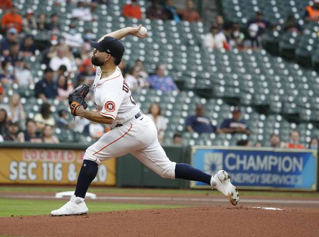 Houston Astros starting pitcher Jose Urquidy (65) pitches during the first inning of an MLB baseball game at Minute Maid Park, Monday, April 26, 2021, in Houston. Photo: Karen Warren/Staff Photographer / @2021 Houston Chronicle