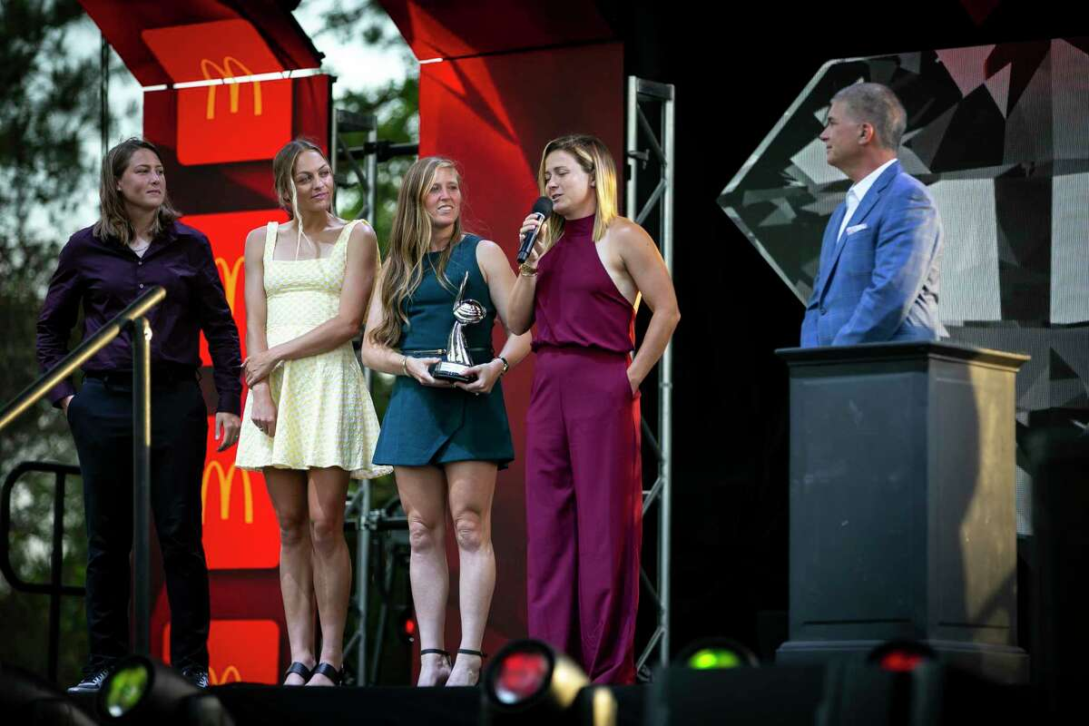 Members of the Dash accept their award for 2020's top sports moment at the 2021 Houston Sports Awards in The Woodlands on Monday night.