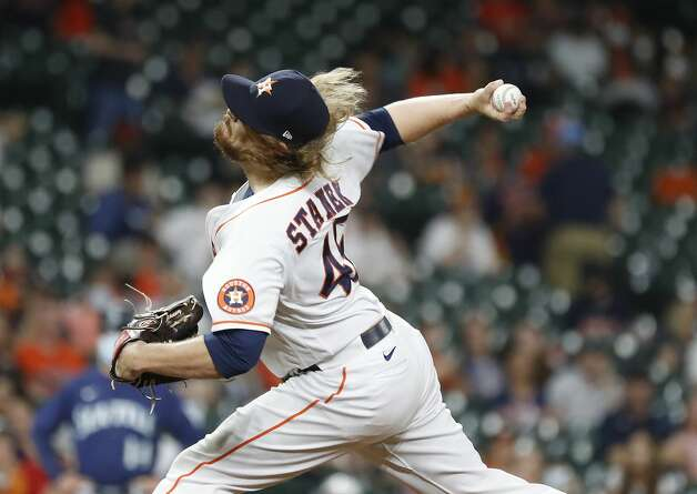 Houston Astros relief pitcher Ryne Stanek (45) pitches during the eighth inning of an MLB baseball game at Minute Maid Park, Monday, April 26, 2021, in Houston. Photo: Karen Warren/Staff Photographer / @2021 Houston Chronicle