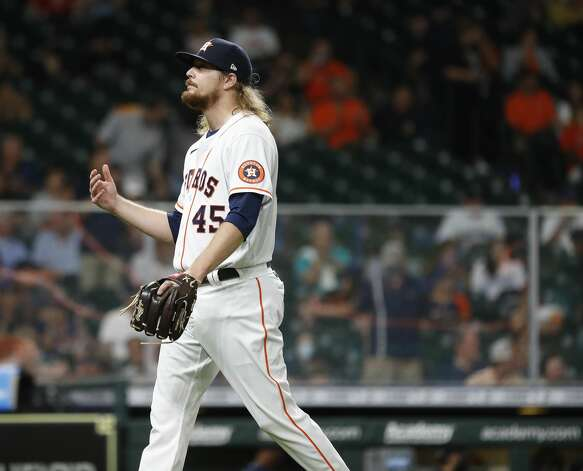 Houston Astros relief pitcher Ryne Stanek (45) after getting out of the eighth inning of an MLB baseball game at Minute Maid Park, Monday, April 26, 2021, in Houston. Photo: Karen Warren/Staff Photographer / @2021 Houston Chronicle