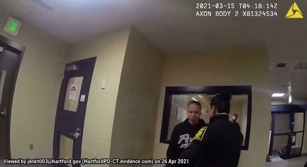 A screenshot from body camera footage from an incident of alleged excessive force by a Hartford, Conn., police officer in March 2021.