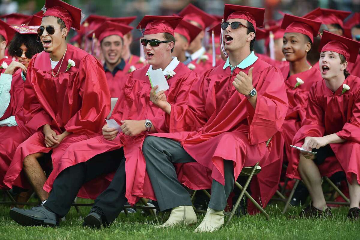 In this file photo Members of the class of 2017, at Wilbur Cross High School graduation, June, 2017, at the Wilbur L. Cross Athletic Center at 181 Mitchell Drive in New Haven.